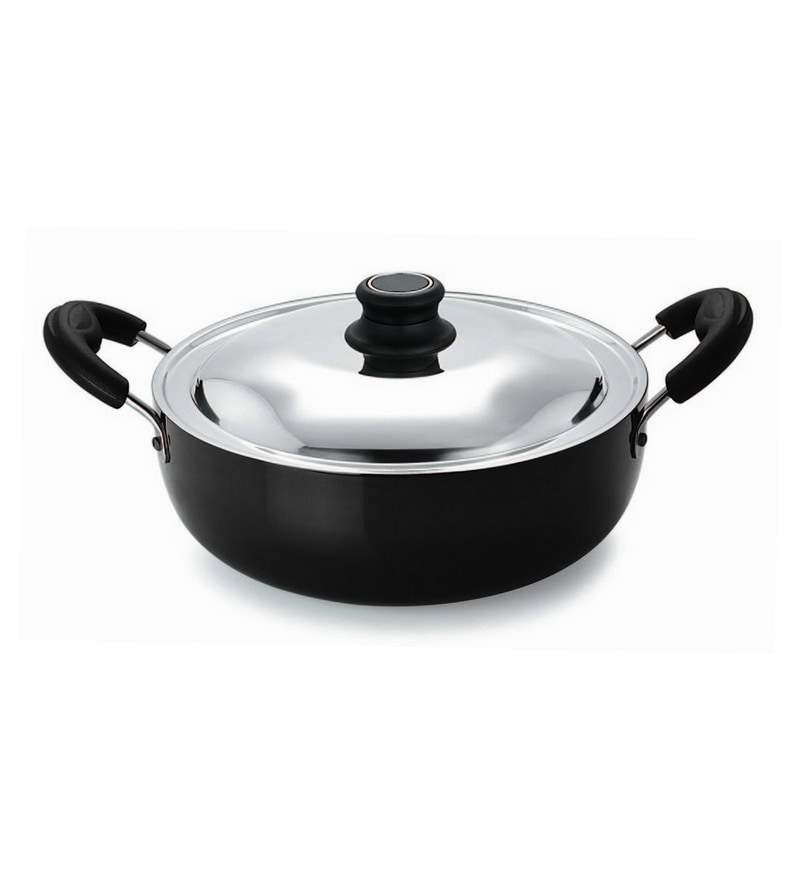Induction Base Aluminium 26 CM Kadai with Stainless Steel Lid & Stay Cool Handles by Pristine