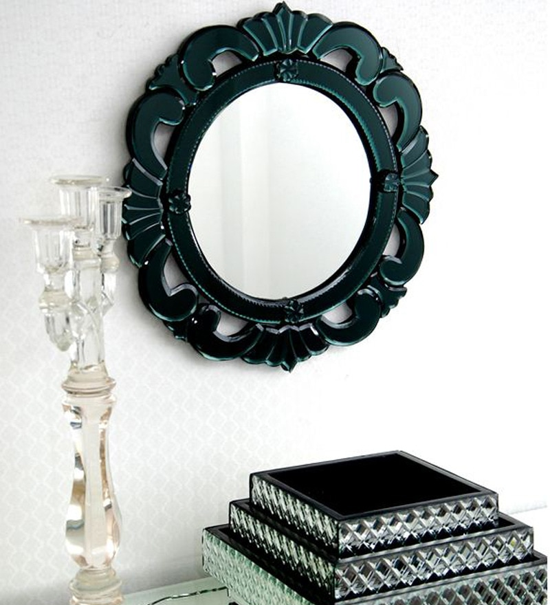 Black Glass & MDF Round Decorative Mirror by Venetian Design