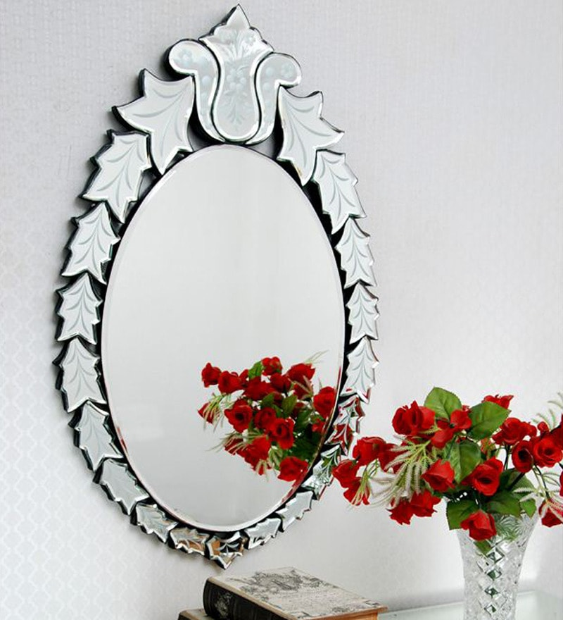 Silver Glass & MDF Oval Leafy Design Decorative Mirror by Venetian Design