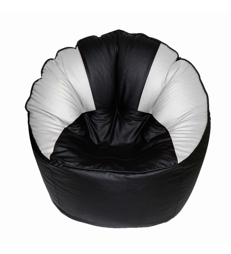 Buy Invogue Black White Coloured Big Boss Round Chair Xxl Without Beans Online Bean Bags Bean Bags Furniture Pepperfry Product