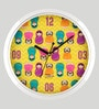 India Circus Multicolour Plastic with Steel Rim 9 Inch Round Desi Matryoshka Dolls Wall Clock