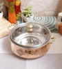 Indian Art Villa Steel & Copper 1.25 L Casserole with Lid