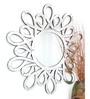 Venetian Design Silver MDF Flower Mirror