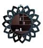 Black Glass & MDF Round Flower Design Decorative Mirror by Venetian Design