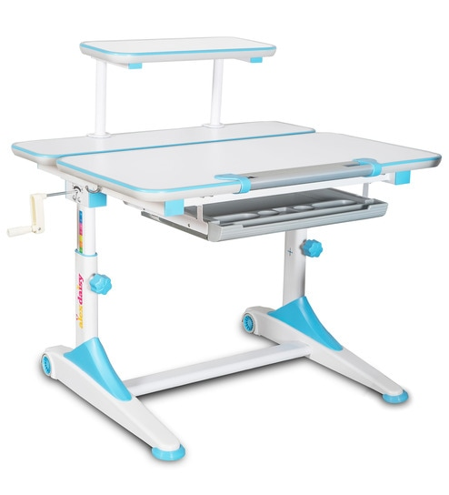 IStudy Height Adjustable Study Table In Blue U0026 White Colour By Alex Daisy