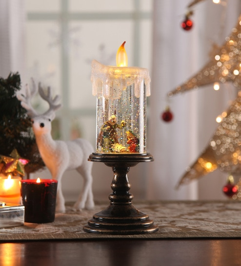 multicolour acrylic christmas snow shimmer battery operated led candle table lamp with crib set by itiha