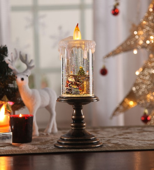 Buy multicolour acrylic christmas snow shimmer battery operated led multicolour acrylic christmas snow shimmer battery operated led candle table lamp with santa set by itiha aloadofball Image collections