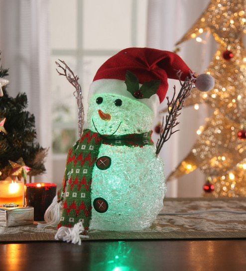 itiha multicolour acrylic christmas usb charging battery operated snowman cap showpiece