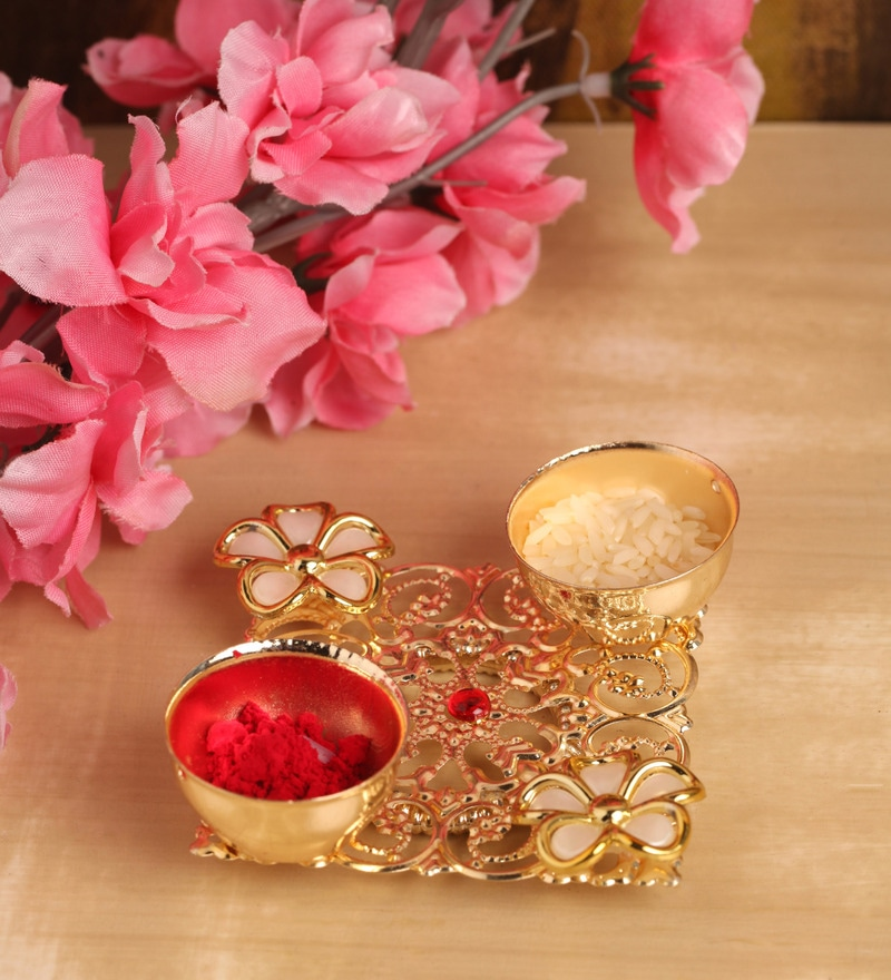 Golden Metal Decorative Floral Haldi Kumkum Holder by Itiha