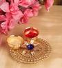 Itiha Golden Metal Decorative Floral Haldi Kumkum Holder