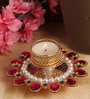 Golden Metal Pink and Blue Stone-studded Tealight Holder by Itiha