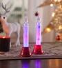 Multicolour Acrylic Christmas Snow Led Candle - Set of 2 by Itiha