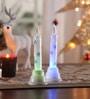 Multicolour Acrylic Christmas Snow Shimmer Led Candle - Set of 2 by Itiha