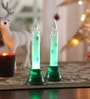 Itiha Multicolour Acrylic Christmas Snow Shimmer Led Candle - Set of 2