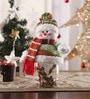 Multicolour Cloth & Plastic Christmas Snowman Candy Jar by Itiha