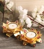 Itiha Multicolour Metal Tea Light Holder - Set of 3