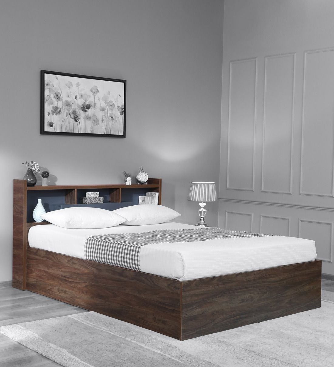 Buy Ivanka Queen Size Bed With Headboard Box Storage In Natural Walnut Colour Casacraft By Pepperfry Online Modern Queen Size Beds Beds Furniture Pepperfry Product