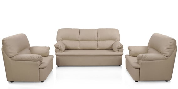 Ivy Leatherette Sofa Set In Pale Brown By Comfort Couch