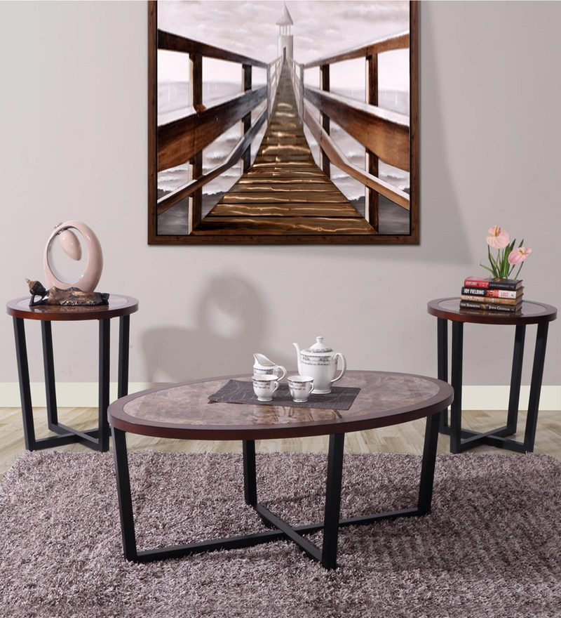Ivan Coffee Table with Two End Tables in Marblite Finish by Evok