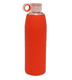 Izizi Red 1 Litre Glass Water Bottle With Silicone Sleeve