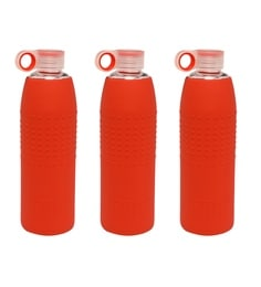Izizi Red 1 Litre Glass Water Bottles With Silicone Sleeve - Set Of 3