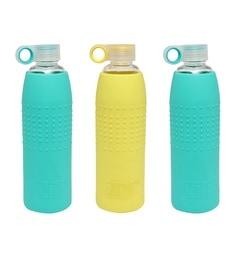 Izizi Yellow & Green Glass Water Bottles With Silicone Sleeve - Set Of 3