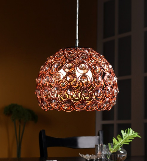 Jainsons Emporio Novelty Hand Woven Brown Metal Dome Shaped Pendant With Crystal Beads Online Drop Hanging Lights Pepperfry