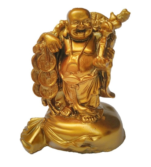 Golden Polyresin Laughing Buddha Statue by JaipurCrafts