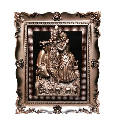 JaipurCrafts Multicolor Plastic Radha Krishna With Diamond Design Photo  Frame