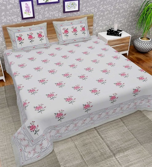 df103ca0c75 Jaipuri Floral Block Print 144 TC Doublebed (Bed Sheet with 2 Pillow covers)  by