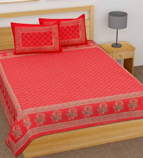 32f3478b91f Jaipuri Floral Block Print 144 TC Doublebed (Bed Sheet with 2 Pillow covers)  by Ved