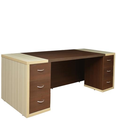Jardin Office Table in Slate Oak & Dark Brown Colour by Crystal Furnitech