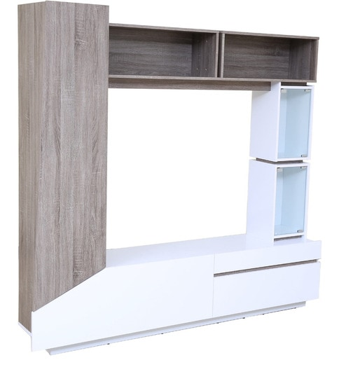 Buy Jasmine Wall Entertainment Unit in Dark Oak & white Finish by ...