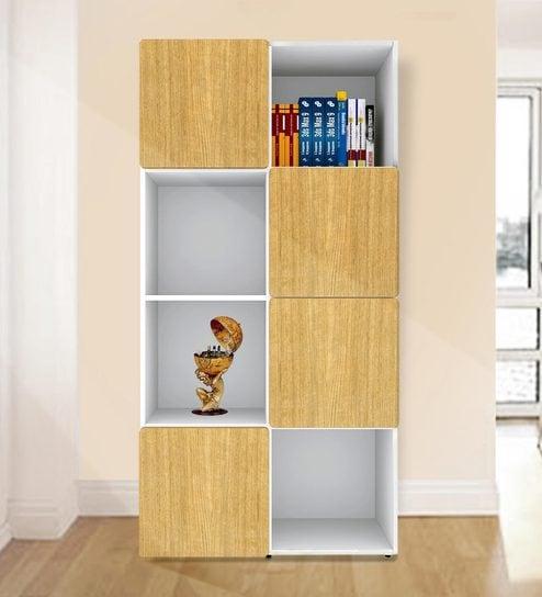 Jasper Display Unit Cum Book Shelf In Urban Teak U0026 White Colour By UNiCOS