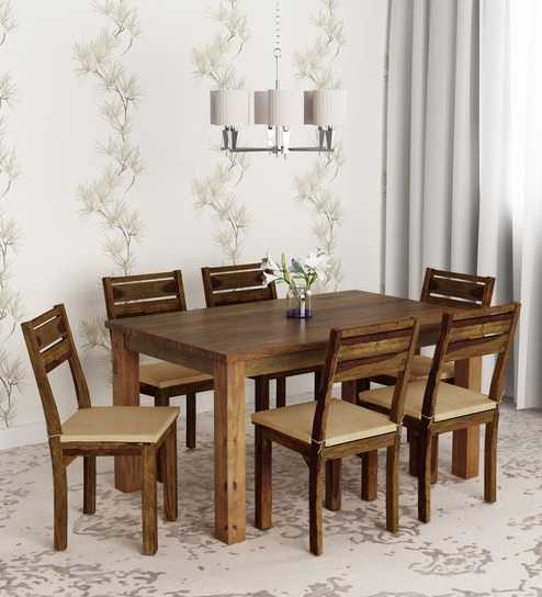 Remarkable Java 6 Seater Dining Set In Light Brown Colour By Hometown Download Free Architecture Designs Madebymaigaardcom