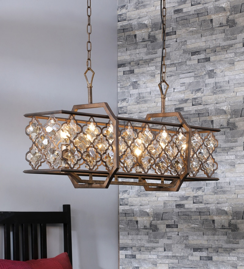 Buy Armand Rectangle Bronze Crystal 6 Lights Chandelier By