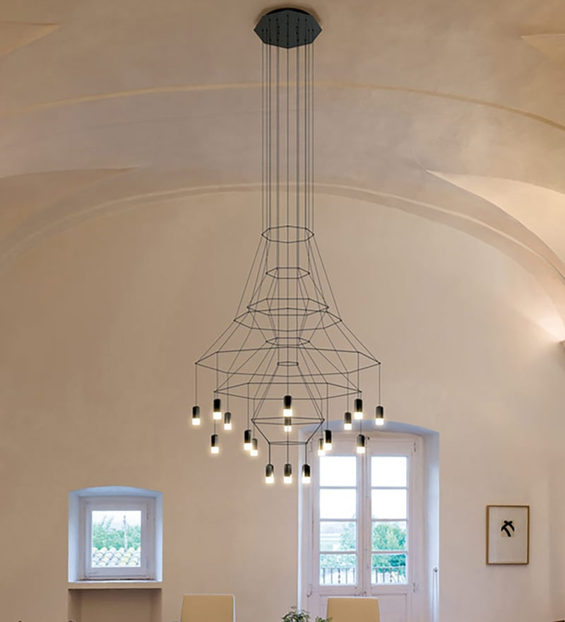 Black Glass Chandelier by Jainsons Emporio