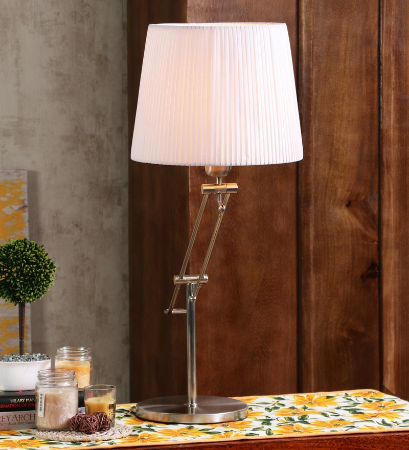 Dextro Silver & White Metal & Fabric Table Lamp by Jainsons Emporio