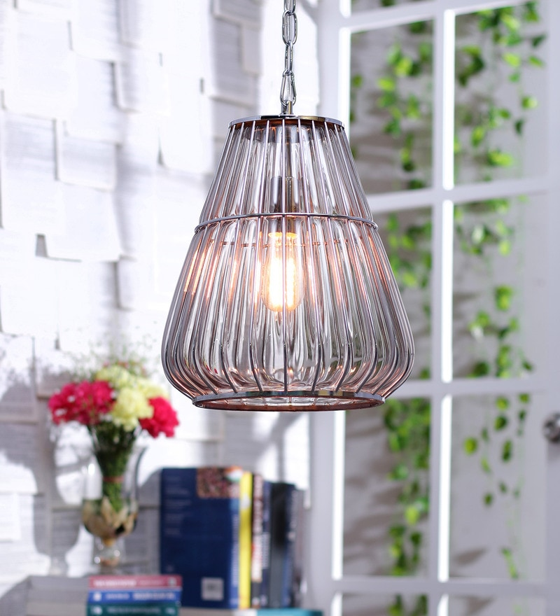 Pamela Industrial Grey Glass Pendant Lamp by Jainsons Emporio