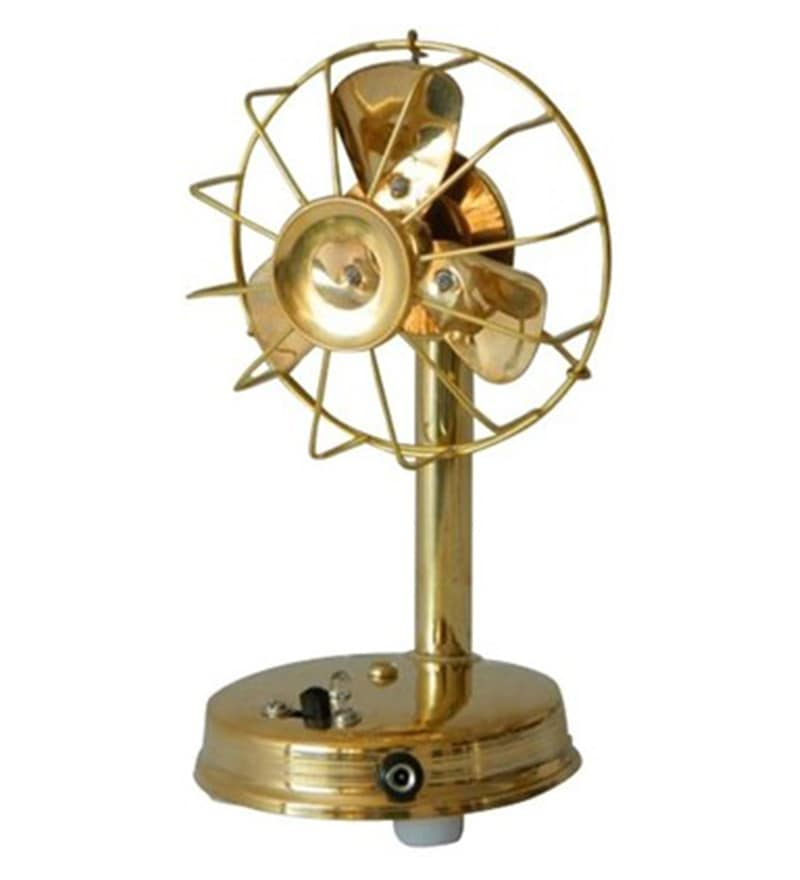 Golden Brass Fan Showpiece by JaipurCrafts