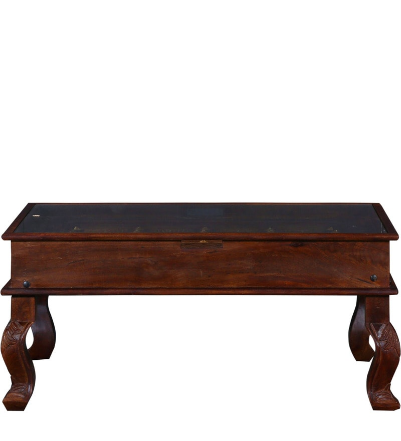 Buy Advaram Coffee Table In Honey Oak Finish By Mudramark Online Indian Ethnic Coffee Tables