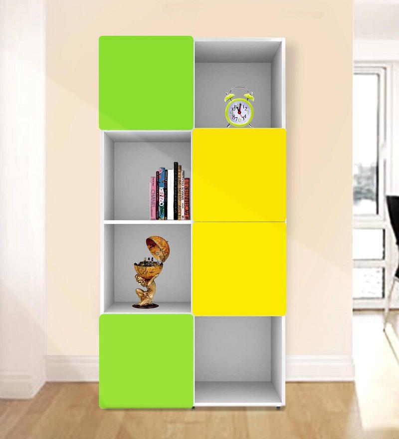 Jasper Display Unit cum Book Shelf in Yellow & Green Colour by UNiCOS