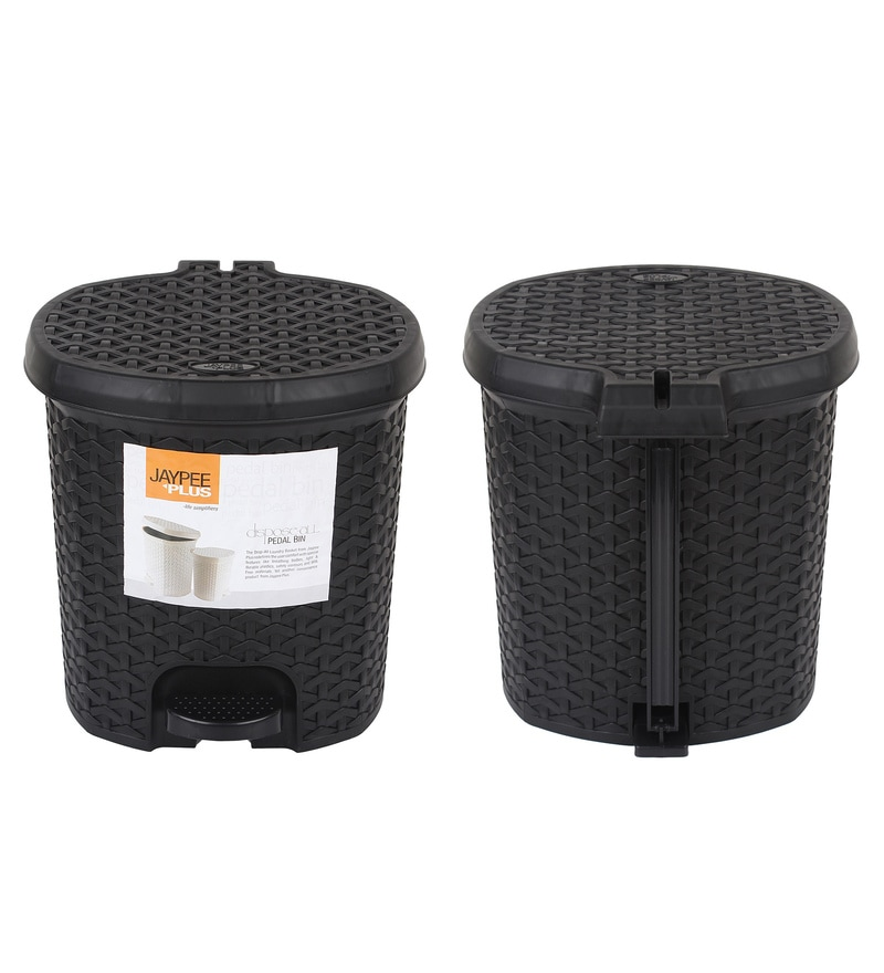 Jaypee Plus Black 8 L Large Pedal Waste Bin - Set of 2