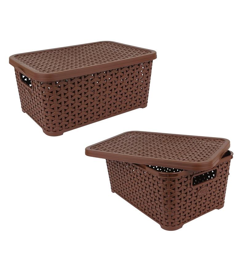 Jaypee PPR Plastic Brown Basket with Lid 9 L- Set of 2
