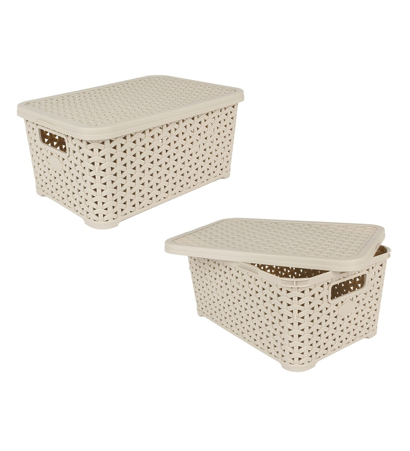 Jaypee PPR Plastic Ivory Basket with Lid 9 L- Set of 2