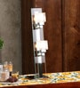Kastro Silver & White Crystal Glass & Metal 2 Light Table Lamp by Jainsons Emporio