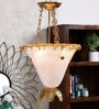 Vimina White & Golden Metal Ceiling Light by Jainsons Emporio