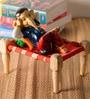 JaipurCrafts Multicolour Wood & Polyresin Resting Ganesha Statue