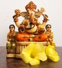 JaipurCrafts Multicolor Stoneware Ganesha with Riddhi & Siddhi Showpiece