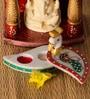 JaipurCrafts Multicolor Stoneware Beautiful Kundan Peacock Roli Tikka Chopra Showpiece